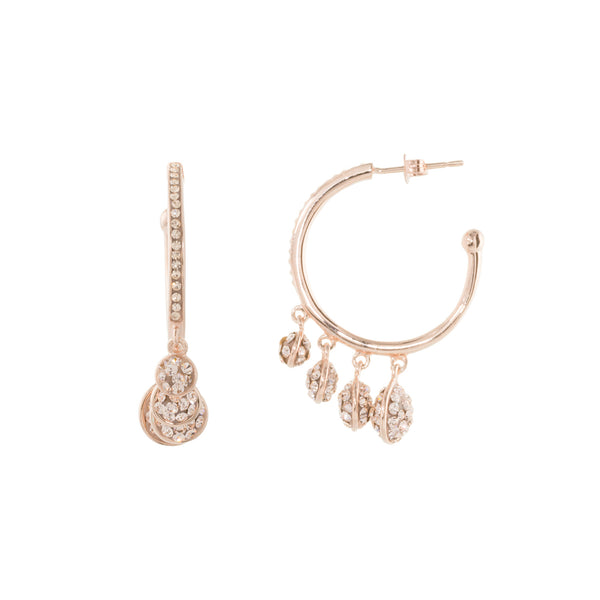 Rose Gold Light Peach Crystal Multi Round Graduated Drop Hoop Earring
