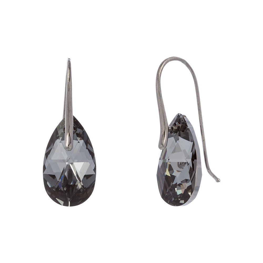 Faceted Silver Night Swarovski® Crystal Pear Drop Earring