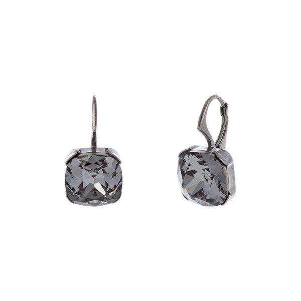 Faceted Silver Night Swarovski® Crystal Square Leverback Earring