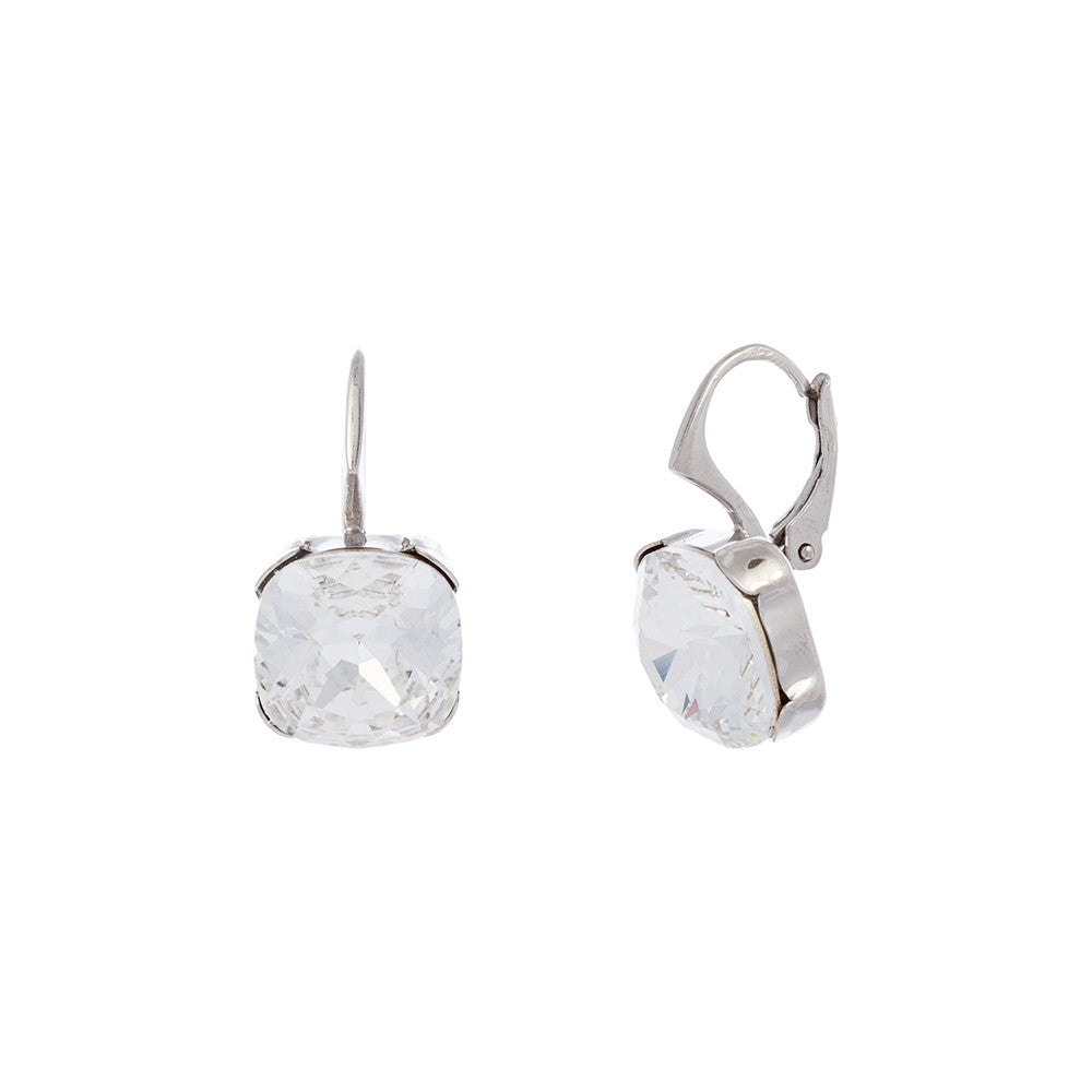 Faceted Clear Swarovski® Crystal Square Leverback Earring