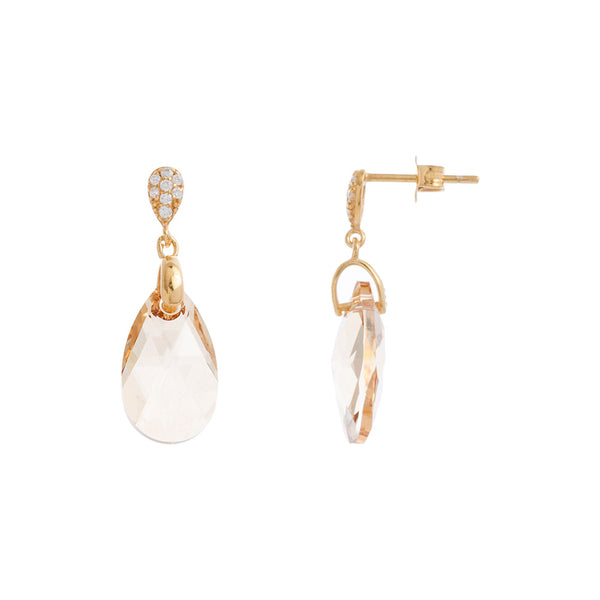 Faceted Clear / Golden Shadow Swarovski® Crystal Teardrop Earring