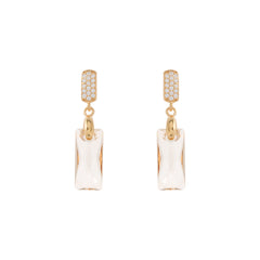 Faceted Clear / Golden Shadow Swarovski® Crystal Rectangle Earring