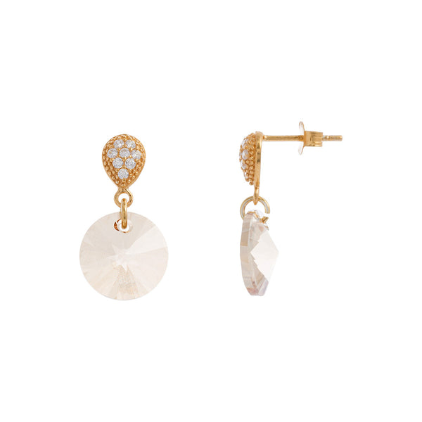 Faceted Clear / Golden Shadow Swarovski® Crystal Round Drop Earring