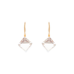Faceted Golden Shadow Swarovski® Crystal Cube Leverback Earring