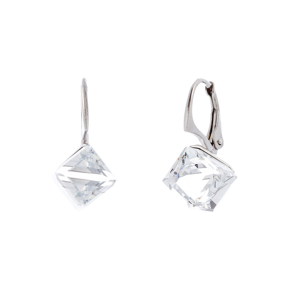 Faceted Clear Swarovski® Crystal Cube Leverback Earring
