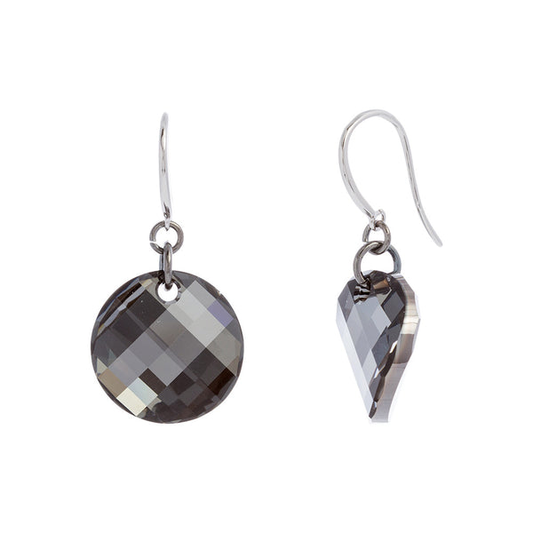 Faceted Silver Night Swarovski® Crystal Wavey Round Drop Earring