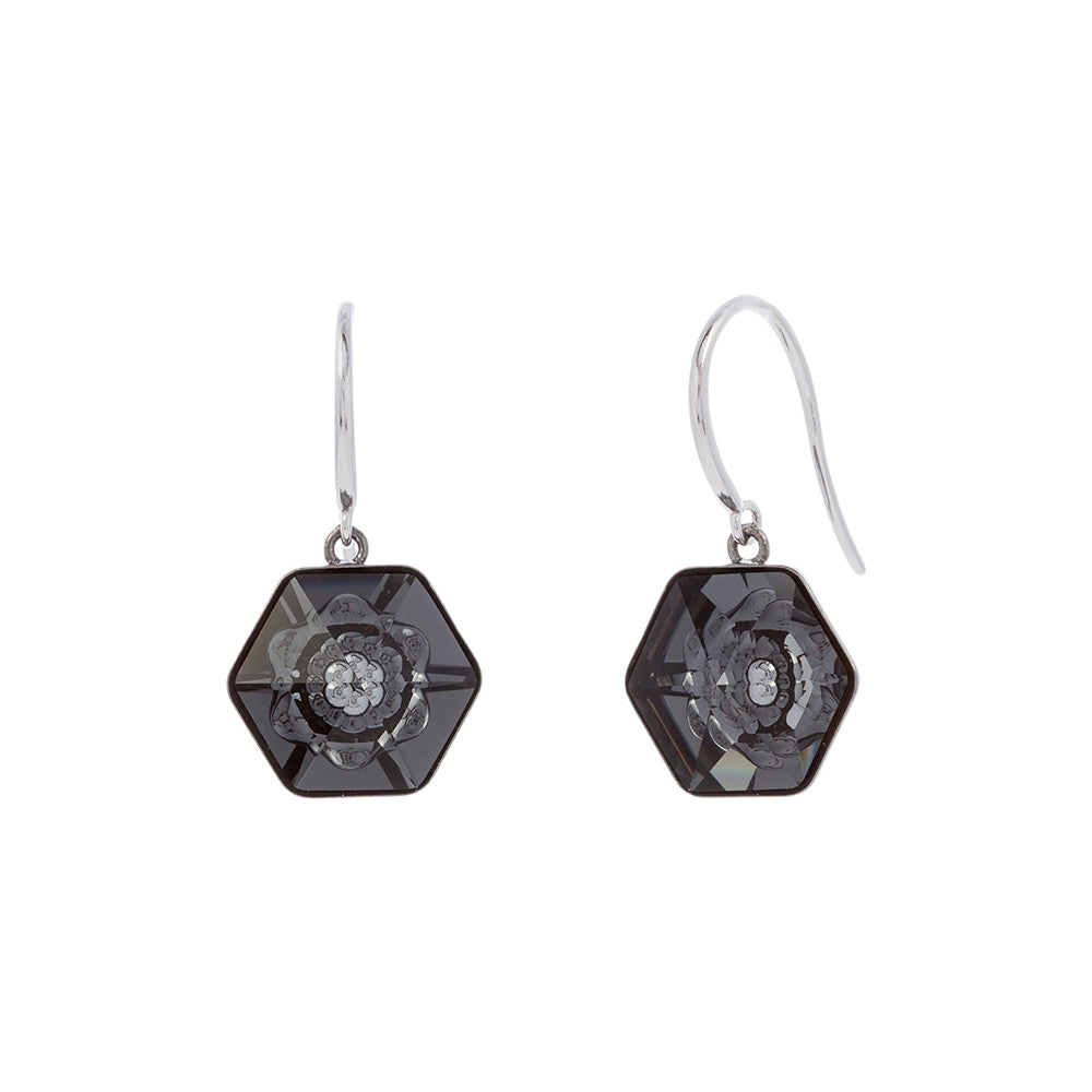 Faceted Silver Night Swarovski® Crystal Flower Center Polygon Drop Earring