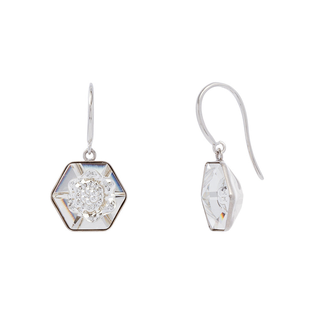 Faceted Clear Swarovski® Crystal Flower Center Polygon Drop Earring