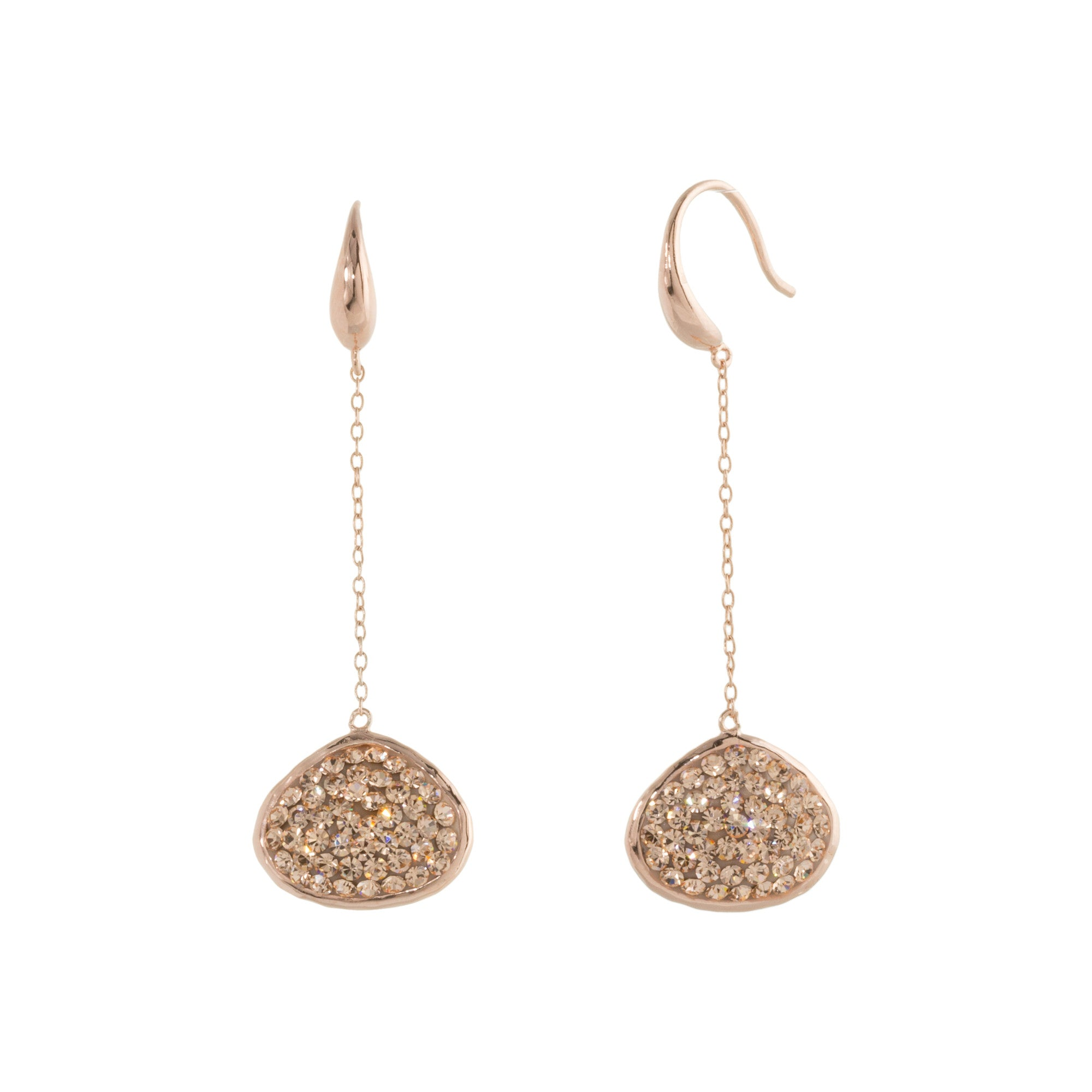 Rose Gold Light Peach Crystal Abstract Double-Sided Chain Drop Earring