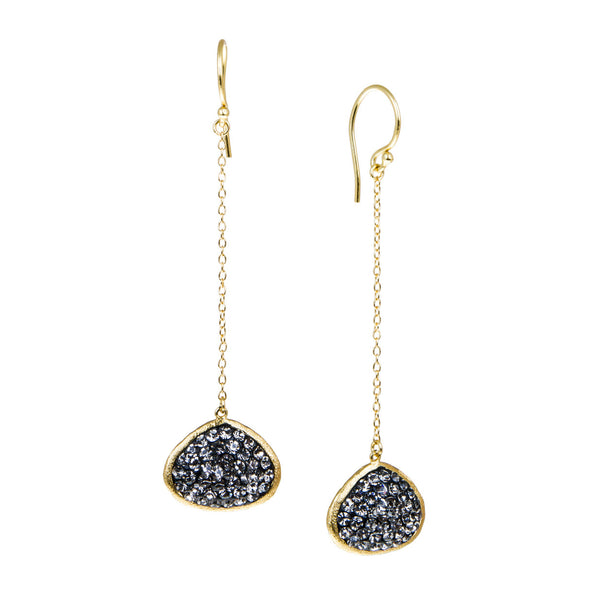 Black Diamond Crystal Abstract Double-Sided Chain Drop Earring