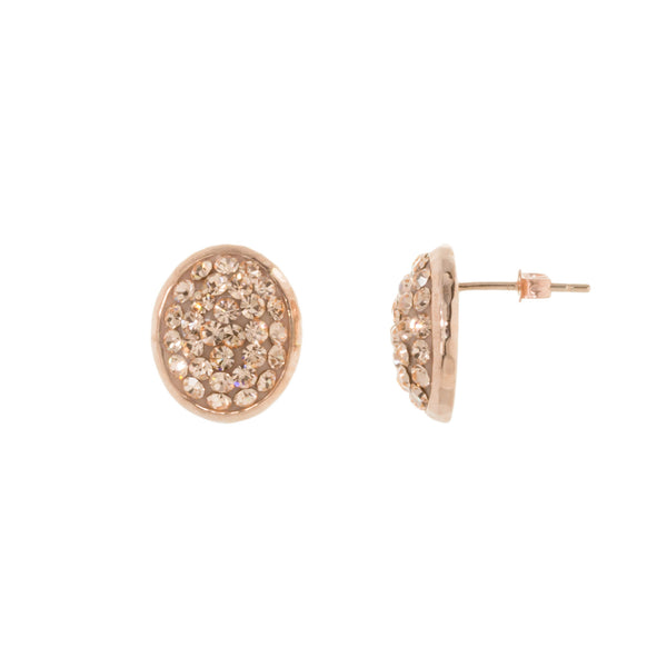 Rose Gold Light Peach Crystal Oval Stud Earring