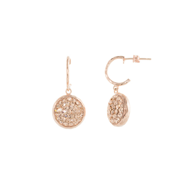 Rose Gold Light Peach Crystal Round Drop C Post Earring