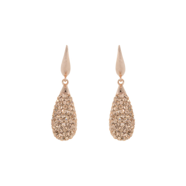 Rose Gold Light Peach Crystal Teardrop Earring