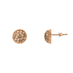 Rose Gold Light Peach Crystal Round Stud