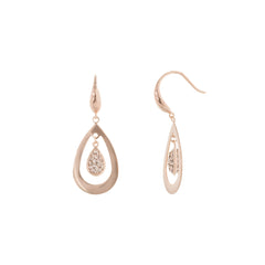 Rose Gold Light Peach Crystal Teardrop Floating Earring