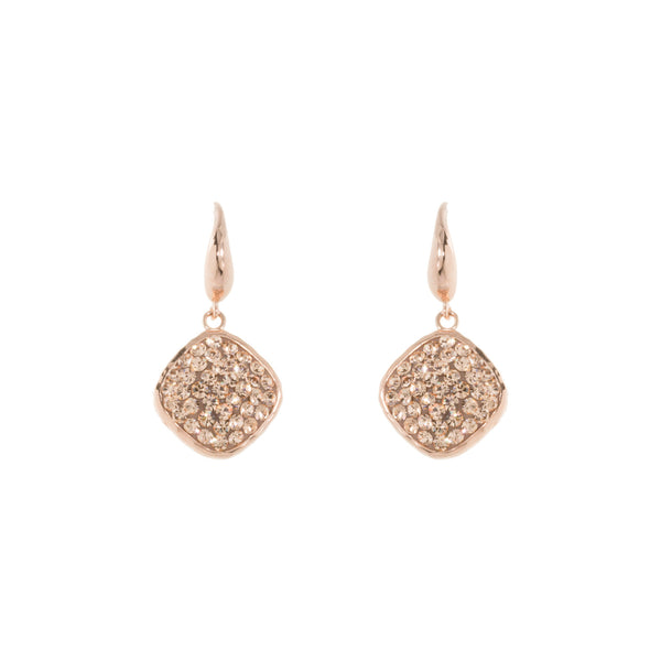 Rose Gold Light Peach Crystal Square Drop Earring