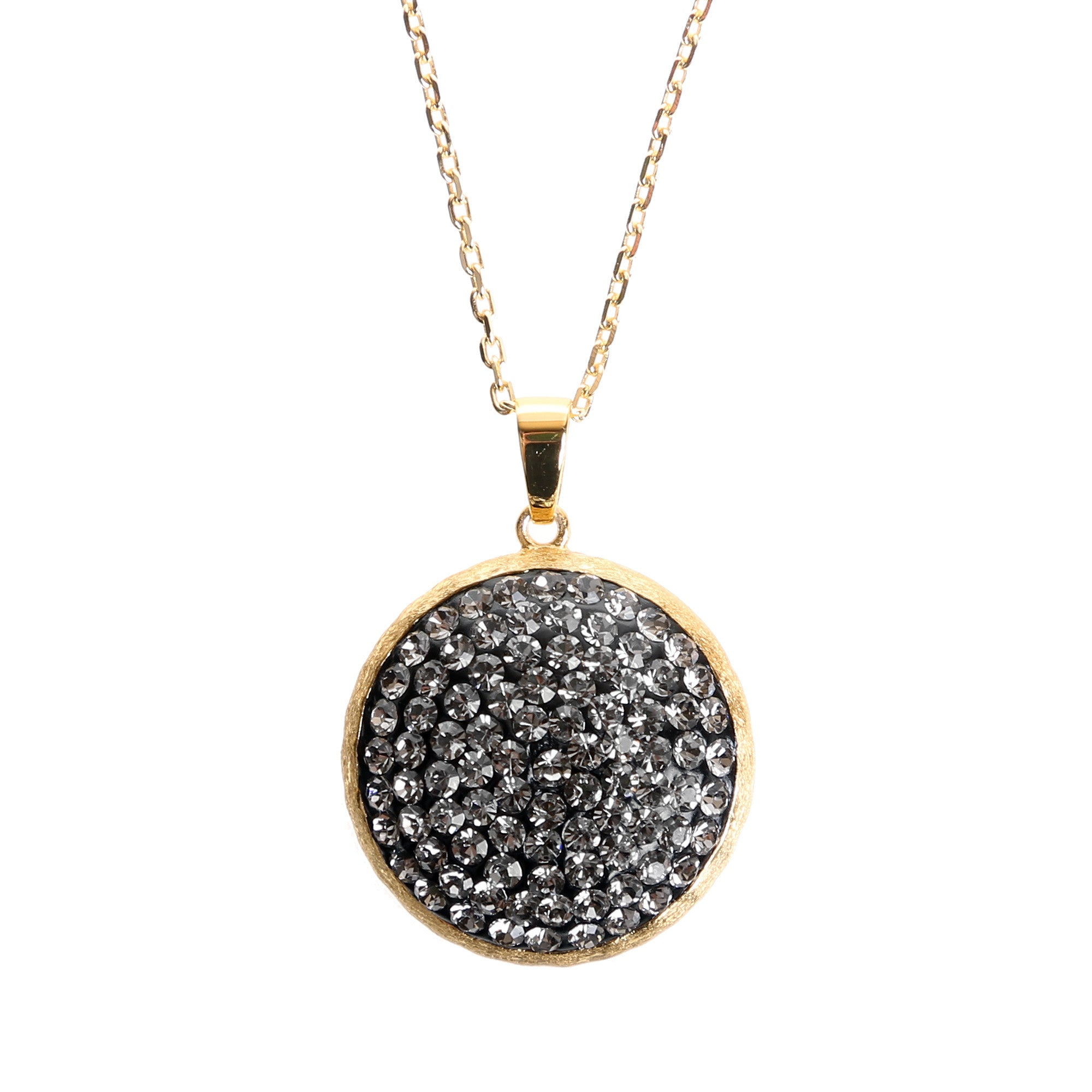 luxe diamond athra black oval crystal products necklace