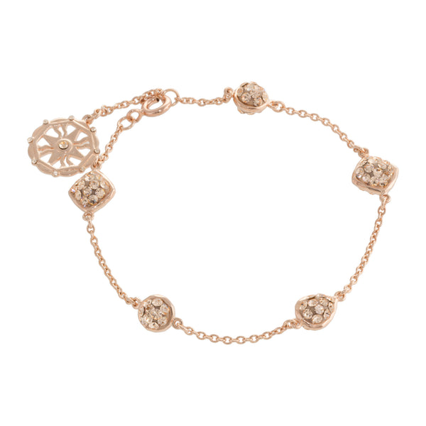 Rose Gold Light Peach Crystal Multi Shape Chain Bracelet