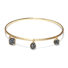 Black Diamond Crystal Multi Double-Sided Shape Drop Textured Bangle Bracelet