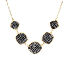 Black Diamond Crystal Multi Square Statement Necklace