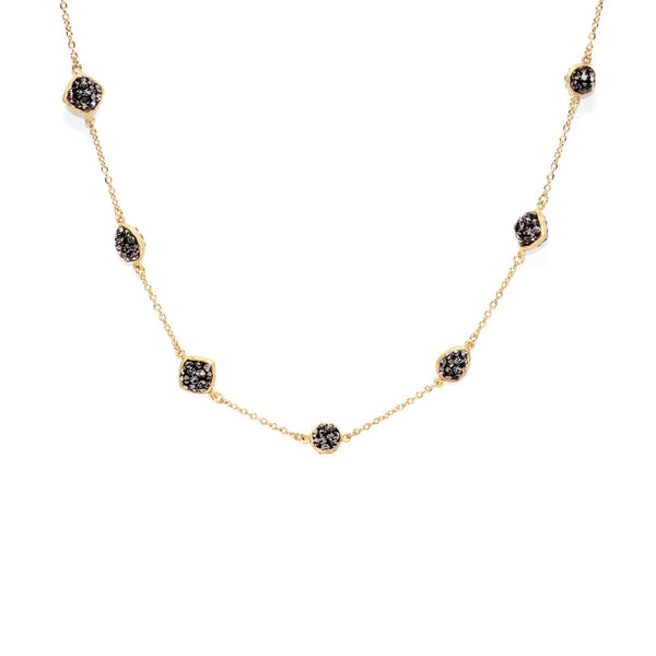 Black Diamond Crystal Multi Double-Sided Shape Necklace