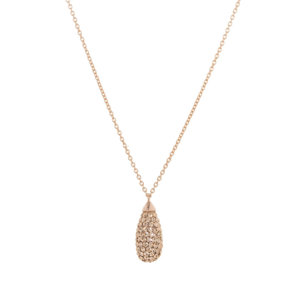 Rose Gold Light Peach Crystal Teardrop Necklace