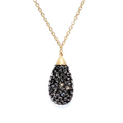 Black Diamond Crystal Teardrop Necklace