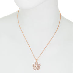 Rose Gold Light Peach Crystal Cubic Zirconia Accent Flower Necklace