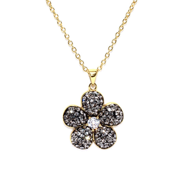 Black Diamond Crystal Cubic Zirconia Accent Flower Necklace