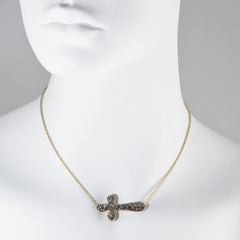 Black Diamond Crystal Sideways Cross Necklace