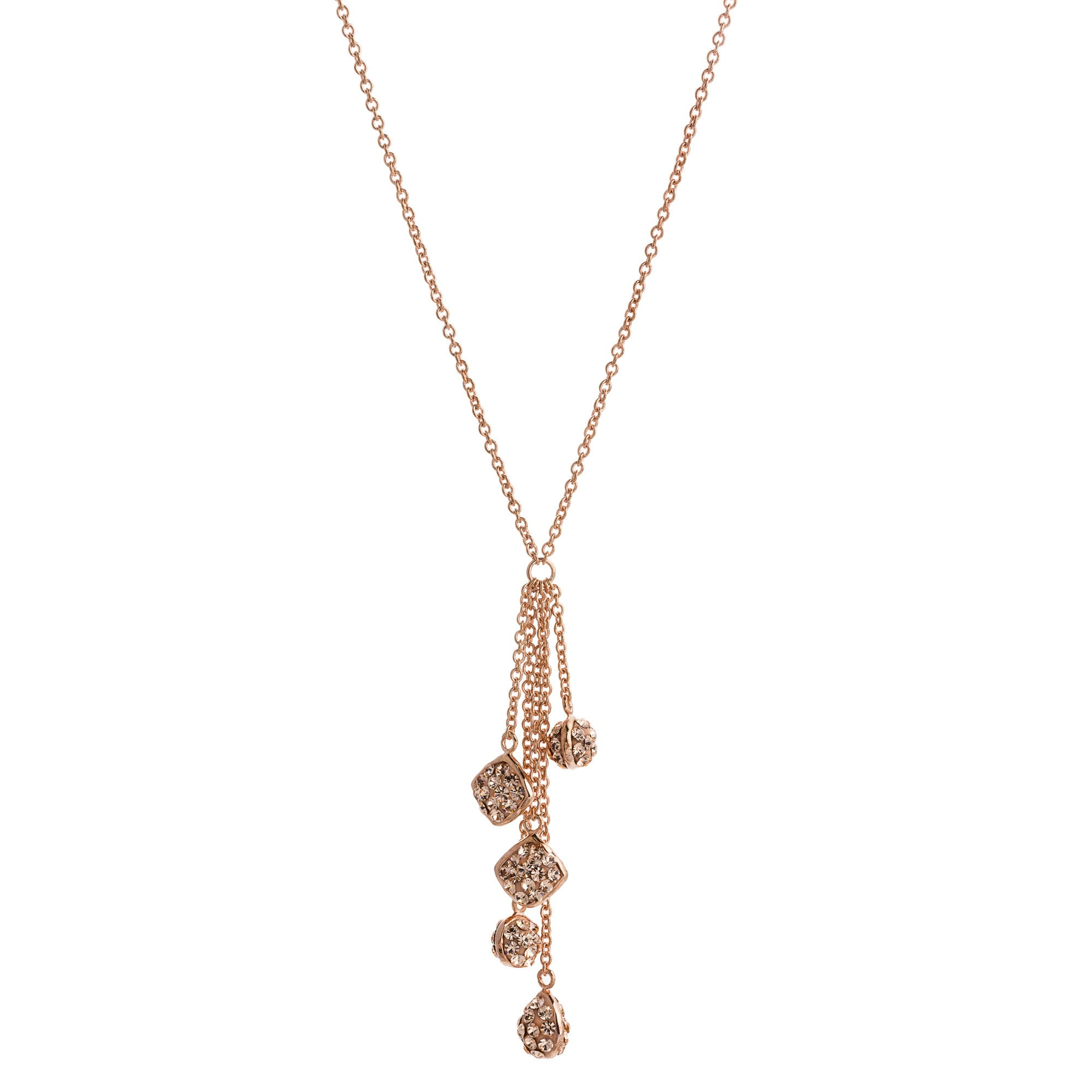 Rose Gold Light Peach Crystal Multi Chain Drop Y-Necklace