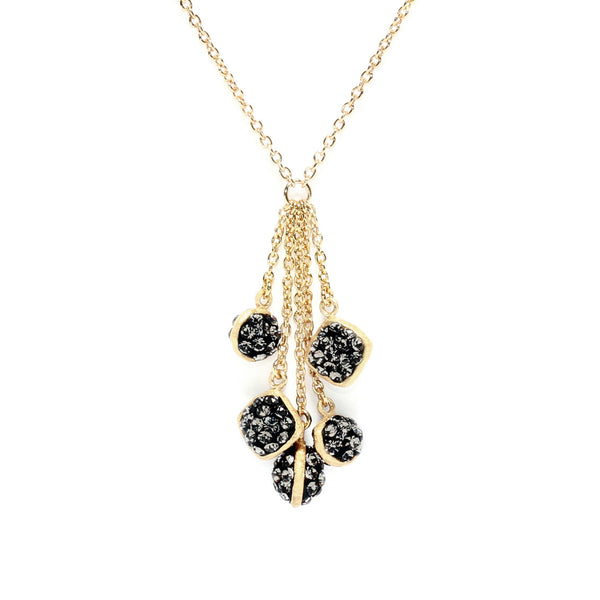 Black Diamond Crystal Multi Double-Sided Shape Chain Drop Necklace