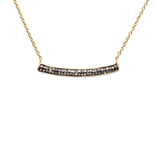 Black Diamond Crystal Bar Necklace