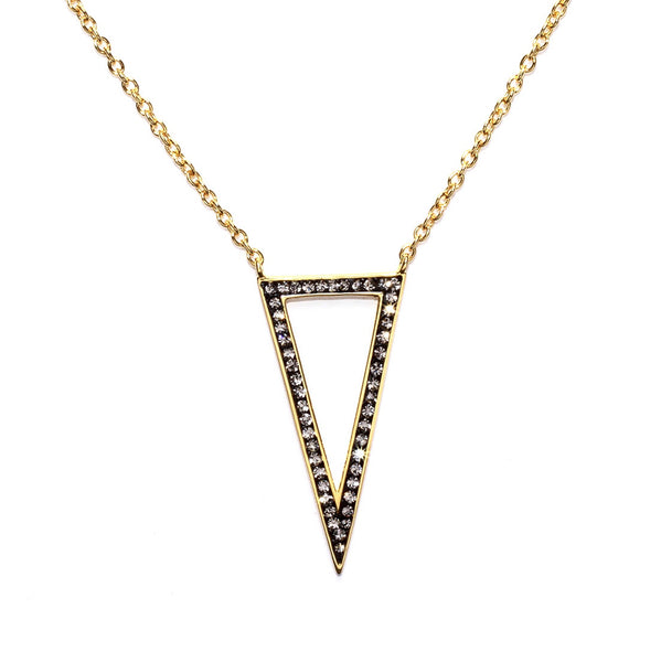 Black Diamond Crystal Open Triangle Necklace