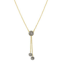 Black Diamond Crystal Double Ball Drop Y-Necklace