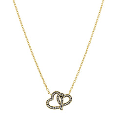Black Diamond Crystal Double Interlocking Heart Necklace