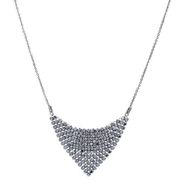 Black Swarovski® Crystal Mesh Triangle Necklace