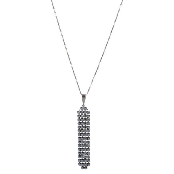 Black Swarovski® Crystal Mesh Oblong Necklace