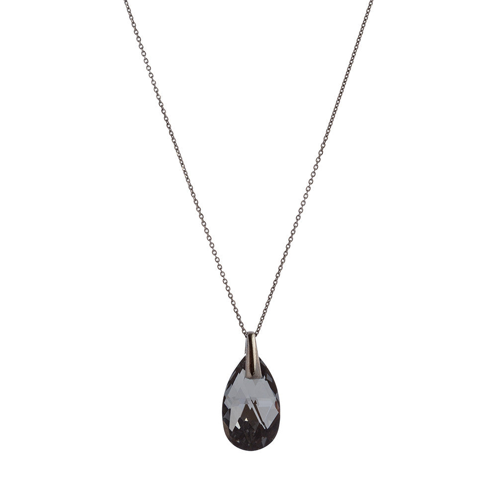 Faceted Silver Night Swarovski® Crystal Faceted Pear Drop Necklace