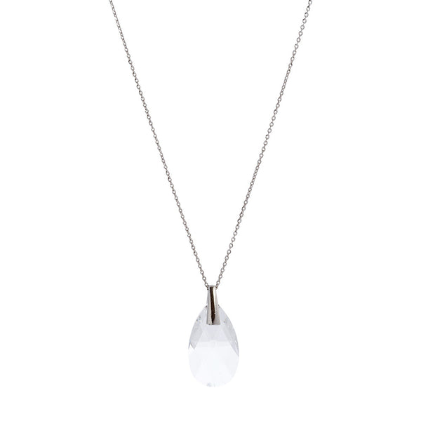 Faceted Clear Swarovski® Crystal Pear Drop Necklace