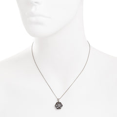 Faceted Silver Night Swarovski® Crystal Flower Center Polygon Necklace