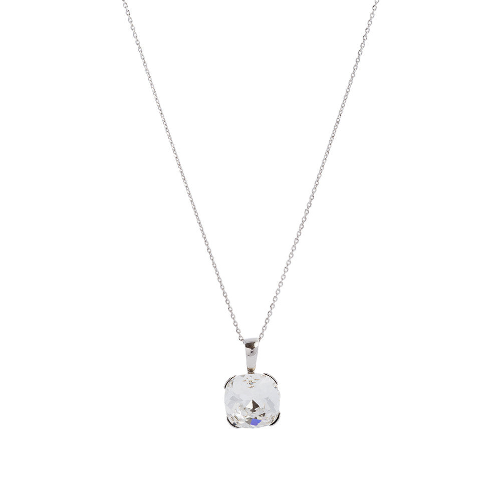 Faceted Clear Swarovski® Crystal Square Necklace with Extension