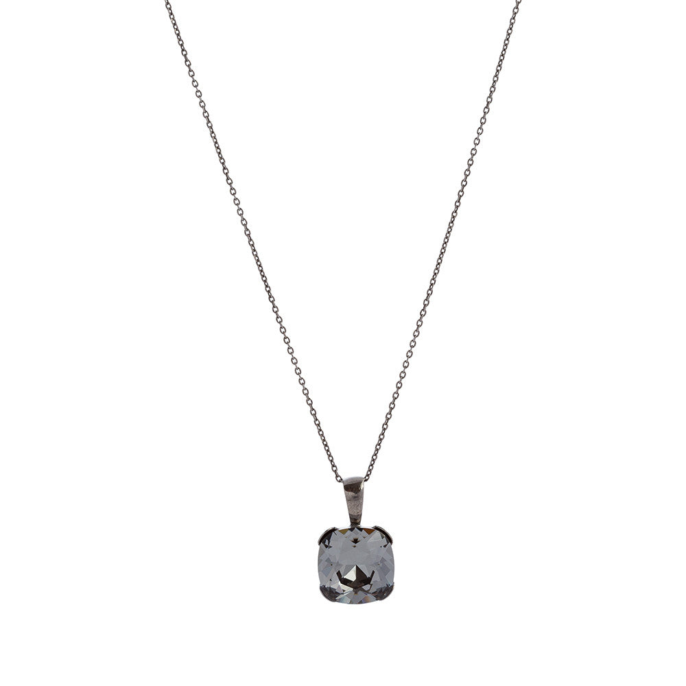 Faceted Silver Night Swarovski® Crystal Square Necklace with Extension