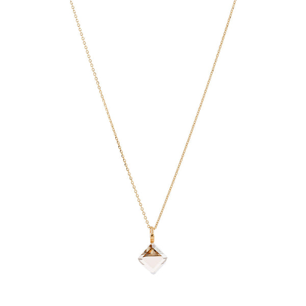 Faceted Golden Shadow Swarovski® Crystal Cube Necklace