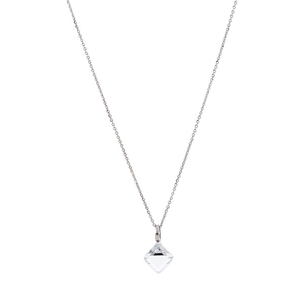 Faceted Clear Swarovski® Crystal Cube Necklace with Extension