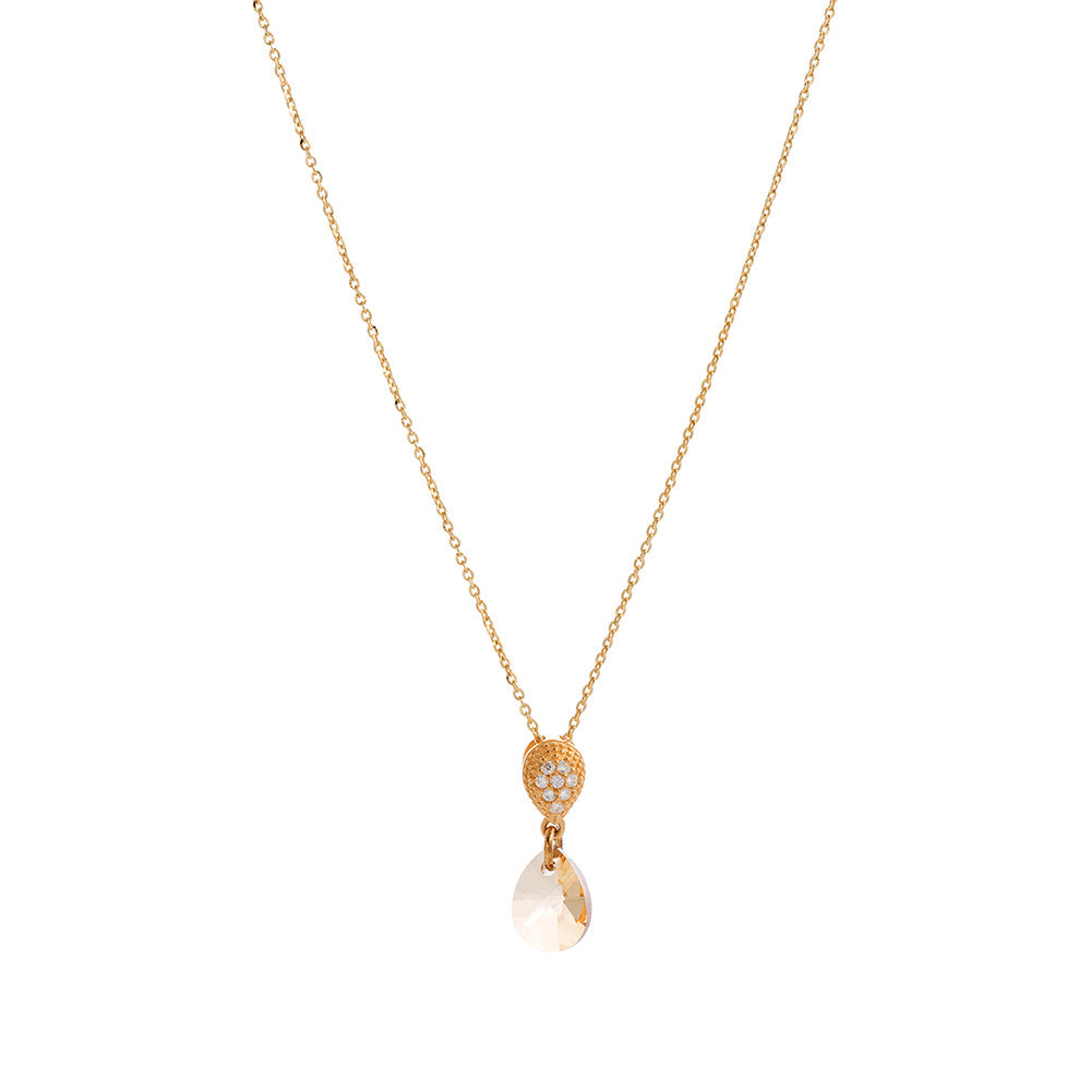 Faceted Clear / Golden Shadow Swarovski® Crystal Teardrop Necklace