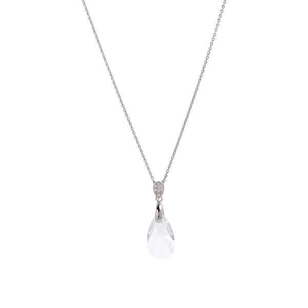 Faceted Clear Swarovski® Crystal Teardrop Necklace