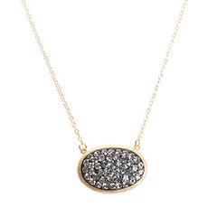 Black Diamond Crystal Oval Necklace