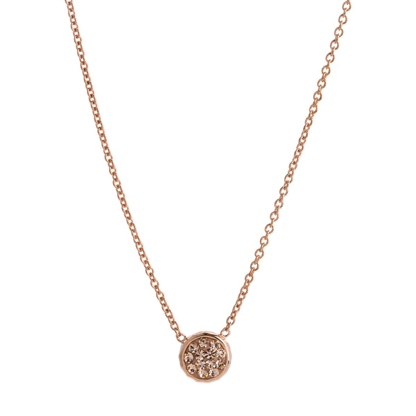 Rose Gold Light Peach Crystal Round Necklace