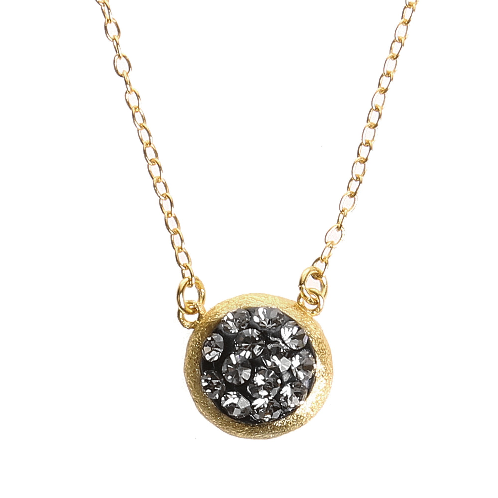 Black Diamond Crystal Circle Necklace